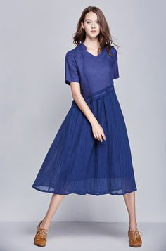romantic blue evening dress for women  【Characteristic】 Elegant cocktail dress, made of luxurious 6 yarn linen and a second layer of silky soft