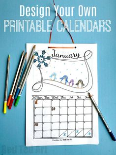 Red Ted Art's Free Cute Printable Calendar.. this calendar is quick and easy to customise for ANY year. The kids can learn about days of the month as well as have fun coloring and adding their own unique details. We love this DIY Calendar Template. This also makes a great last minute gift to relatives! #newyearseve #newyearsday #christmas #diycalendar #calendartemplate #freecalendar #calendar2018 #printables #templates