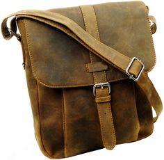 Vintage Look  Echtleder Messengertasche 27cm Retro Unisex Schultertasche Braun