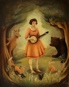 Banjo Recital Print 11x14. $35.00, via Etsy.