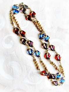 Vintage Swarovski Swan Mark Necklace with Molded Glass Caged Beads Vibrant Jewel…