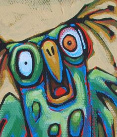 funny green owl original art colorful acrylic painting by TomSarmo, via Etsy.
