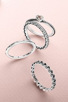 Create a romantic look by stacking cute heart-shaped rings. #PANDORA #PANDORAring