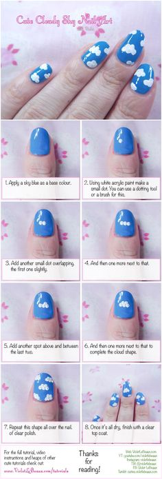 Cloud Nail Art Tutorial| Violet LeBeaux- Cute Free Craft Tutorials