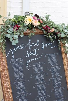 Chalk Board | Seating chart | Wedding Flowers