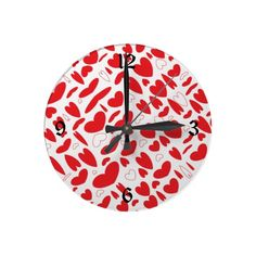 Army of Red Hearts Round Wallclocks