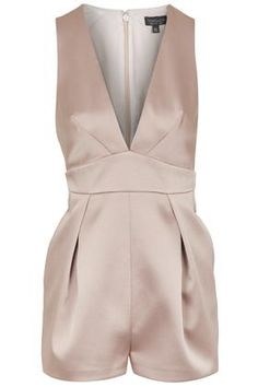 Satin Pastel Pink Plunge Playsuit