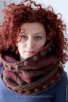 """Купить Снуд """"Колдовской"""" - в полоску, шарф, снуд, вязаный снуд, снуд крючком, зима 2014"""