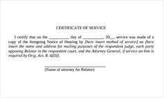 Good Certificate Of Service Template Download