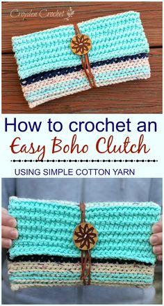 FREE PATTERN - Crochet this easy boho clutch using Lily Sugar 'n Cream cotton yarn! from Croyden Crochet