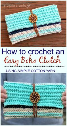 FREE PATTERN - Crochet this easy boho clutch using Lily Sugar 'n Cream cotton yarn! from Croyden Crochet
