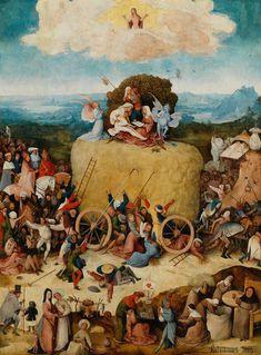 Jeroen Bosch, het centrale paneel van De Hooiwagen. Olie op paneel, c. 1510–1515. Madrid, Museo Nacional del Prado.