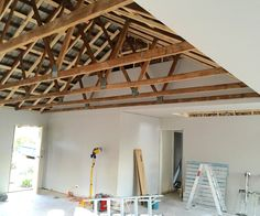 Want exposed beams in your house? Exposed Trusses, Exposed Ceilings, Wood Ceilings, Exposed Wood, Vaulted Ceilings, Roof Beam, Roof Trusses, Open Ceiling, Ceiling Beams