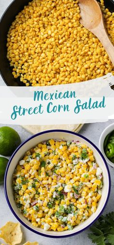 This spicy Mexican street corn salad is the perfect side dish for tacos, burritos, or enchiladas! It's easy, gluten-free, and a great make-ahead recipe for a party! Party Side Dishes, Cookout Side Dishes, Mexican Side Dishes, Corn Dishes, Side Dishes For Bbq, Best Side Dishes, Vegetable Side Dishes, Side Dish Recipes, Vegetable Recipes