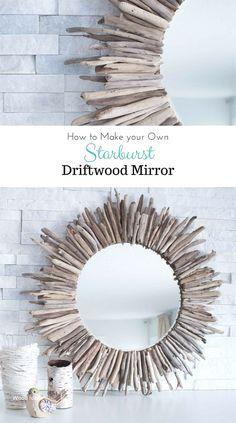Handmade Home Decor Driftwood Mirror, Driftwood Furniture, Diy Mirror, Mirror Crafts, Glass Furniture, Diy Home Decor Projects, Diy Wood Projects, Decor Ideas, Diy Ideas