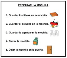 Guión-preparar-mochila-e1392154404987 Visible Thinking, Aspergers, My Tea, Special Needs, Fourth Grade, Adhd, Trivia, Behavior, Psychology