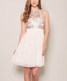 Love this Little Mistress Cream Embellished Fit & Flare Dress by Little Mistress on #zulily! #zulilyfinds