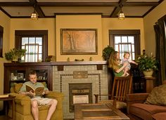 A Family-Friendly Bungalow mantel, bookcases similar - note fireplace-looks like. - Craftsman Home Craftsman Style Interiors, Bungalow Interiors, Craftsman Interior, Bungalow Homes, Craftsman Style Homes, Craftsman Bungalows, Deco Interiors, Fireplace Bookshelves, Fireplace Built Ins