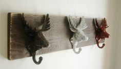 Moose Hooks Rustic Wall Decor for your home by SplintersAndNails, $38.00