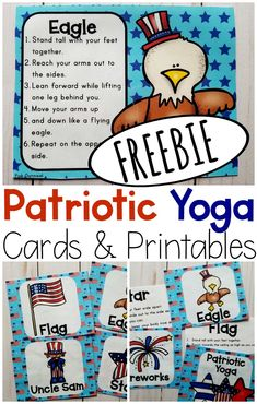 Perfect for celebrating patriotic holidays. You have gross motor, brain breaks, and movement covered for Presidents Day, Memorial Day, Forth of July and beyond! Fun yoga pose ideas for kids! Goes great with any patriotic lesson! Preschool Age, Preschool Lessons, Kindergarten Activities, Learning Activities, Preschool Activities, Toddler Gross Motor Activities, Kinesthetic Learning, Vocabulary Activities, Lesson Plans For Toddlers