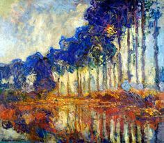 "Claude Monet (French, Impressionism, Row of Poplars (Filare di pioppi), Oil on canvas. - ""It's on the strength of observation and reflection that one finds a way. So we must dig and delve unceasingly. Monet Paintings, Impressionist Paintings, Landscape Paintings, Landscapes, Impressionism Art, Claude Monet, Pierre Auguste Renoir, Artist Monet, Art Amour"