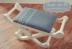 sweater stool diy, diy, home decor, painted furniture, repurposing upcycling