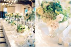 The Table - Mint Julep centerpieces of green and white
