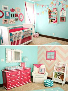 Chevron explosion in this baby room gives it a fun but transitional look that will last through college