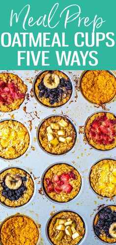 These Baked Oatmeal Cups are the perfect grab and go breakfast. Choose from 5 different variations, from mango coconut to apple cinnamon! #bakedoatmeal #mealprep Clean Eating Recipes, Lunch Recipes, Crockpot Recipes, Healthy Eating, Sweets Recipes, Good Healthy Recipes, Whole Food Recipes, Delicious Recipes, Healthy Meals