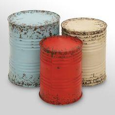 Metal Drum Tables, Set/3