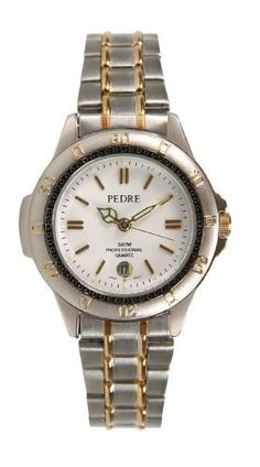 Pedre Women's 3 ATM Two-Tone Bracelet Watch # 5498TX Pedre. $14.95. Uni-directional rotating bezel. Water resistant to 3ATM. Luminous hands and hour markers. Precision Japanese quartz movement with date. Includes gift box and lifetime limited warranty. Save 67% Off!