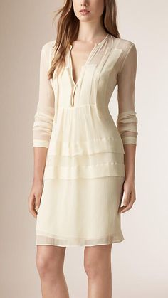 Amarelo camomila Vestido de crepe de seda - Imagem 1: