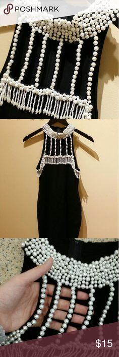 Selling this Black Beaded High Collar Body Con Dress on Poshmark! My username is: usxgichxn. #shopmycloset #poshmark #fashion #shopping #style #forsale #Dresses & Skirts