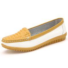 AIER Women Slip On Lozenge Leather Flats - Shoes| Brand: AIER Upper Material: Genuine Leather Outsole Material: Rubber sole Heel Height: 2.5 cm Color: Yellow, red, orange Style: Floral Soft Comfortable Leather Slip On Flat Shoes