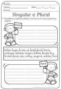 Singular And Plural, Portuguese Lessons, Sistema Solar, Interactive Notebooks, Primary School, Public School, Teaching Kids, Professor, Homeschool
