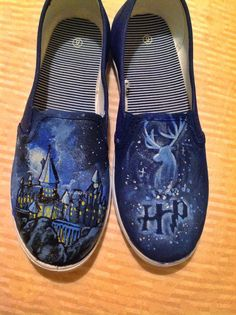 Harry Potter Shoes: Hogwarts and Stag Patronus by simplycolorfilled on Etsy https://www.etsy.com/listing/177026940/harry-potter-shoes-hogwarts-and-stag