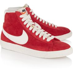 Nike Blazer perforated suede high-top sneakers ($43) ❤ liked on Polyvore featuring shoes, sneakers, laced up shoes, lace up shoes, hi tops, nike footwear and high top shoes
