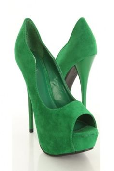 Green Velvet Peep Toe Pump Heels...favorite color, too!