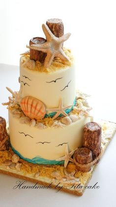 Beach Wedding Cake. If you want the best officiant for your Outer Banks, NC, ceremony, contact Rev. Barbara Mulford: http://myobxofficiant.com/?utm_content=buffer509ec&utm_medium=social&utm_source=pinterest.com&utm_campaign=buffer