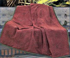 Chenille Throw Blanket in Red - Wilderness Ridge Lodge Throw Blanket