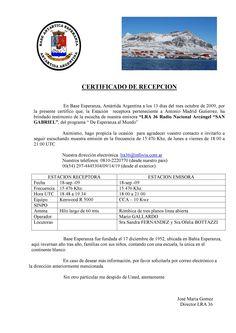 Recibida e-QSL-carta de LR36 RN Arcangel San Gabriel , en 25 dias , fimada por Jose Maria Gomez. Email: lra36@infovia.com.ar