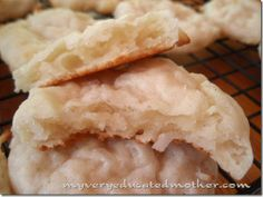 """Macaroon Pillow Cookies from """"My Very Educated Mother"""" -- so delicious and easy.  Fat Free cottage cheese in the batter gives the cookies richness without fat, plus you get protein and calcium.  I drizzled mine with semisweet chocolate and each cookie came in at just 3 Weight Watchers Points Plus a piece."""
