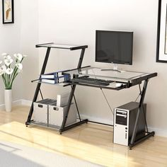Features:  -Nero desk and bookcase.  -Durable powder coated metal frame.  -Clear tempered safety glass.  -Reinforced plates on all joints.  -Tension bars for added stability.  -Attached three tier boo