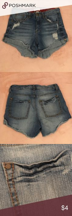 Distressed Jean Shorts Ripped and Frayed (by design) • Pinched Back Pockets • Couple Loose Strings • Still Good Condition Mudd Shorts Jean Shorts