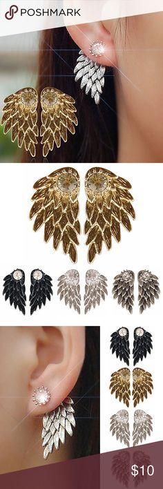 Women's Angel Wings Rhinestones Inlaid Ear Studs ✨ • COMING SOON • Brand new • LIKE to be notified when in stock Jewelry Earrings