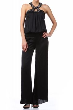 76.00 - First spotted on the runway, this wide leg jumpsuit looks amazing dressed up or down with its bead embellished neckline and halter styling , , ebuybit.com
