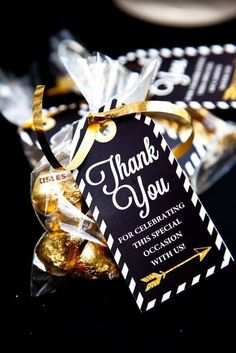 Thank you favors at a black and gold graduation party! See more party planning ideas at http://CatchMyParty.com!