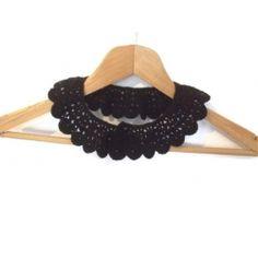 Gothic Black crochet collar with beads, peter pan collar, lace collar, mustard, autumn, harvest, collar necklace,Bridesmaid