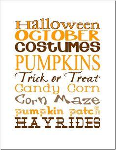 October / Halloween Subway Art Printable