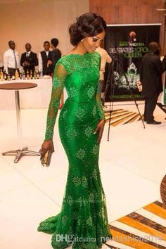 2015 New Elegant Red Carpet Miss Nigeria Gorgeous Green Lace Celebrity Dresses Sheer Scoop Long Sleeves Trumpet Mermaid Evening Gown WH822